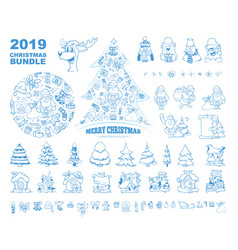 christmas elements collection santa snowman deer vector image
