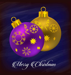 christmas typogrpahic with balls and snow flakes vector image
