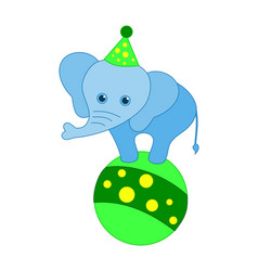 circus animal elephant on a ball - bright colors vector image
