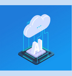 cloud ai isometric composition vector image