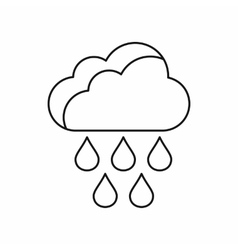 Cloud with rain drops icon outline style vector image