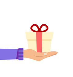 Congratulation flat with gift vector