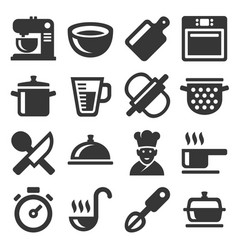 cooking icons set on white background vector image