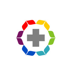 cross flower health care logo template vector image