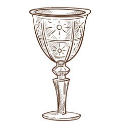 crystal goblet or glass cup isolated sketch vector image