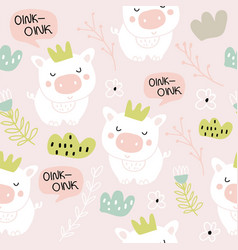 cute pigs characters pink seamless pattern vector image