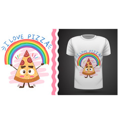 cute pizza - idea for print t-shirt vector image