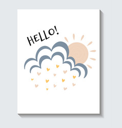 cute sticker sun coming out a cloud vector image