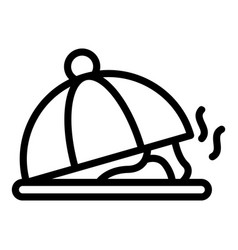 Dish under lid on tray icon outline style vector