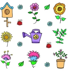 Doodle of spring with flower vector