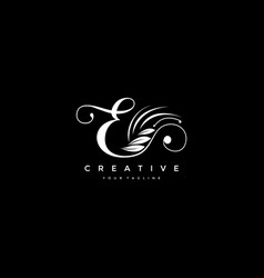 E letter luxury flourishes ornament logo vector