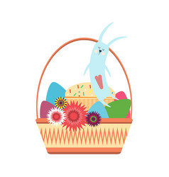 Easter bunny in a wicker basket with colored eggs vector