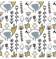 Easter seamless pattern with flowers chickens and vector