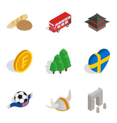 English nation icons set isometric style vector