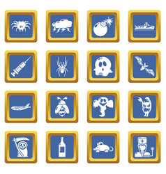 Fears phobias icons set blue square vector