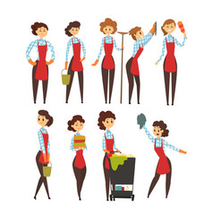 Female professional cleaner set cleaning company vector