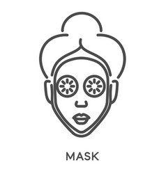 female with facial mask and slices cucumber on vector image