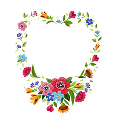 Flower frame in heart shape symbol of romantic vector