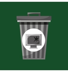 garbage bin technology broken vector image