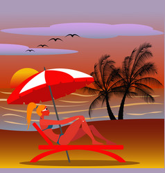 girl in a beach chair with sunglasses in an vector image