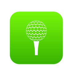 golf ball on a tee icon digital green vector image