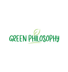 Green philosophy word text with leaf icon logo vector