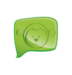 green square chat bubble with monkey animal inside vector image
