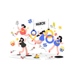 happy laughing women and international holiday vector image