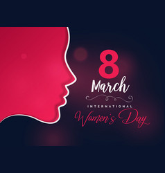 happy womens day greeting design with female face vector image