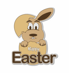 Hatching easter bunny eggs with happy easter text vector
