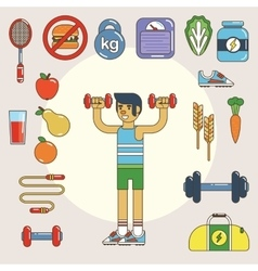 Healthy lifestyle flat icon set vector image