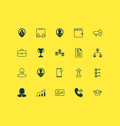 Human icons set with navigation call money and vector