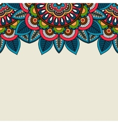 Indian doodle floral colored border vector image