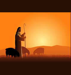 Jesus as a shepherd vector