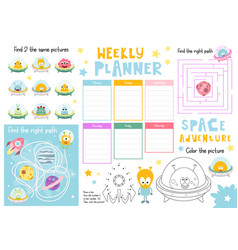 kids weekly planner template vector image