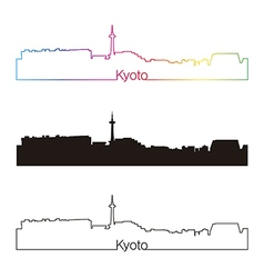 Kyoto skyline linear style with rainbow vector image