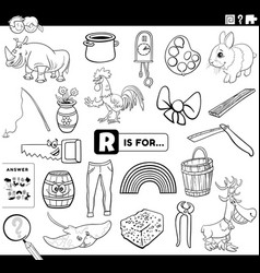 Letter r words educational task coloring book page vector