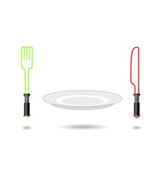 Light Plug and light knife Cutlery from future as vector image