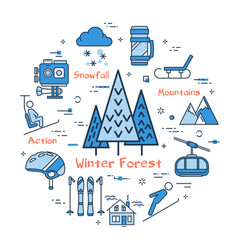 Linear blue round concept of winter forest vector