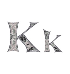 Low poly letter K in gray mosaic polygon vector