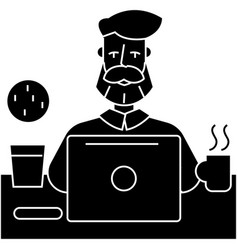 man with beard working on table with notebook icon vector image