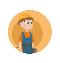 man worker construction builder cartoon vector image
