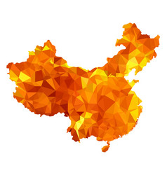 map of china with national flag triangulated vector image