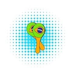 Maracas musical instrument icon comics style vector