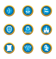 Medieval kingdom icons set flat style vector