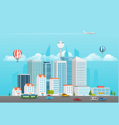modern city life modern district with different vector image