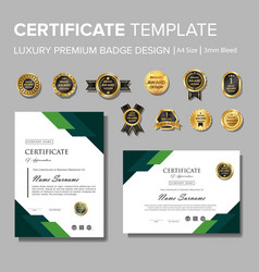 modern green certificate with badge multipurpose vector image