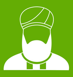 Muslim preacher icon green vector