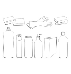 Outline of Cleaning set vector