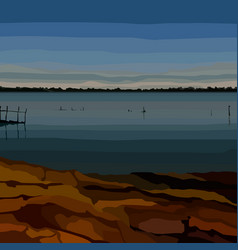 Painted landscape coast river in the vector